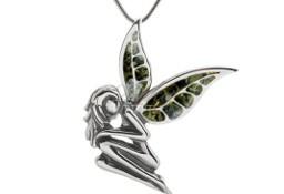 Zawieszka srebrna z bursztynem Kobieta Elf z zielonym bursztynem