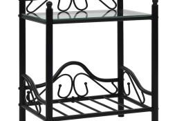 vidaXL Stolik nocny ze stali i hartowanego szkła, 45x30,5x60 cm,czarny 246726