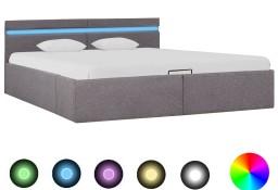 vidaXL Rama łóżka z podnośnikiem i LED, taupe, tkanina, 160 x 200 cm 285628