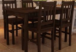 Drewniany zestaw jadalniany stół z 4 krzesłami, brązowy241221