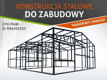 Konstrukcja stalowa do zabudowy, garaże/magazyny/wiaty na wymiar. TRANSPORT I MONTAŻ