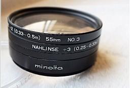 MINOLTA Komplet 4 soczewki filtr Close-UP Lens No 0 MAKRO 55