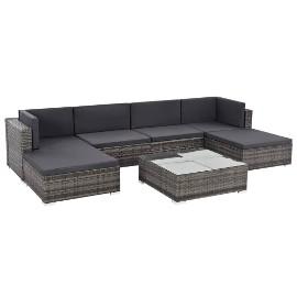 vidaXL 7-cz. zestaw wypoczynkowy do ogrodu, poduszki, rattan PE, szary 44598