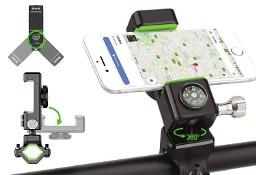 Rowerowy uchwyt na telefon + kompas na kierownicę zielony