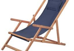 vidaXL Składany leżak plażowy, tkanina i drewniana rama, niebieski 43996