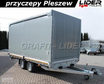 LT-006 przyczepa ciężarowa Lider Trailers, zabudowa firana, plandeka ze stelażem, 420x210x210cm, DMC 2700kg