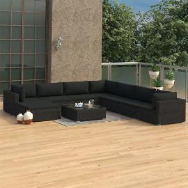 vidaXL 9-cz. zestaw wypoczynkowy do ogrodu, poduszki, rattan PE czarny 46776