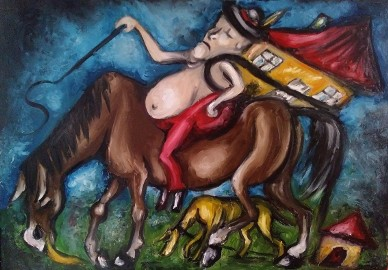 Sprzedam trzy obrazy  olejne - Tryptyk Surrealistyczny