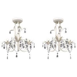 vidaXL Żyrandole z kryształkami, 2 szt., eleganckie, białe 278738