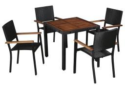 vidaXL Zestaw mebli ogrodowych, 5 części, polirattan i drewno akacjowe43934