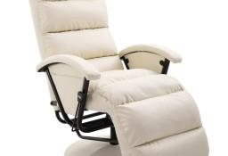 vidaXL Rozkładany fotel telewizyjny, kremowy, sztuczna skóra248478