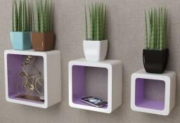3 biało fioletowe półki ozdobne MDF Cube242172