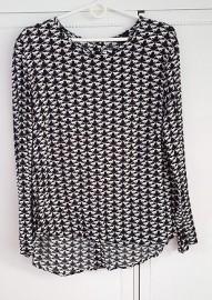 Nowa bluzka H&M 40 L czarno biała wzór koty lopardy pumy puma leopard kot
