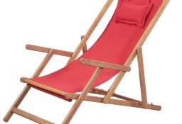 vidaXL Składany leżak plażowy, tkanina i drewniana rama, czerwony 43995