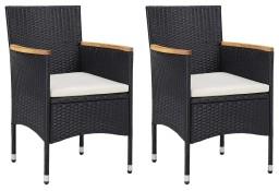 vidaXL Krzesła ogrodowe, 2 szt., polirattan, czarne46181