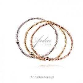 Bransoletka srebrna potrójna srebrna , pozłacana różowym złotem i żółtym złotem