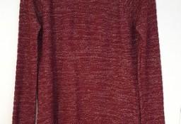 Bordowy sweter ze srebrną nitką M 38 czerwony prosty sweterek cienki