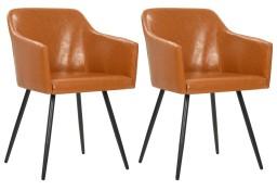 vidaXL Krzesła stołowe, 2 szt., brązowe, sztuczna skóra247074