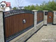 Ogrodzenie łukowe z metalowych dwuczęściowych sztachet w drewnopodobne