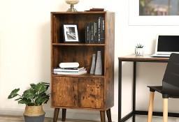 Regał, witryna w stylu rustykalnym z zamykaną szafką, na drewnianych nóżkach. Retro