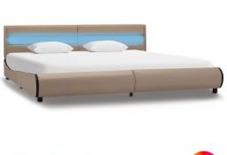vidaXL Rama łóżka z LED, kolor cappuccino, sztuczna skóra, 180x200 cm 285037