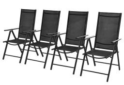 vidaXL Składane krzesła ogrodowe, 4 szt., aluminium/textilene, czarne 41731