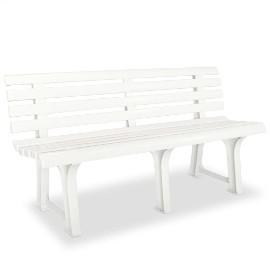 vidaXL Ławka ogrodowa, 145,5 cm, plastik, biała 43583