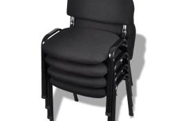 vidaXL Krzesło biurowe tapicerowane tkaniną 4 szt., sztaplowane, czarne 20138
