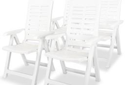 vidaXL Krzesła ogrodowe rozkładane, 4 szt., plastikowe, białe275067