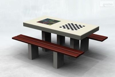 Stół betonowy do gry w szachy warcaby karty na plac zabaw