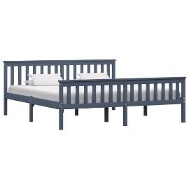 vidaXL Rama łóżka, szara, lite drewno sosnowe, 180 x 200 cm 283231