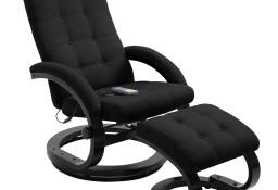 vidaXL Rozkładany fotel do masażu z podnóżkiem, czarny, tkanina248474
