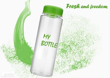 Zielona Ekologiczna Butelka WALLMUG REUSE BOTTLE 500  przezroczysta