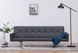 vidaXL Sofa rozkładana z podłokietnikami, szara, sztuczna skóra282215