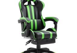 vidaXL Fotel dla gracza z podnóżkiem, zielony, sztuczna skóra20219