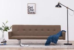 vidaXL Sofa rozkładana z podłokietnikami, brązowa, poliester282220