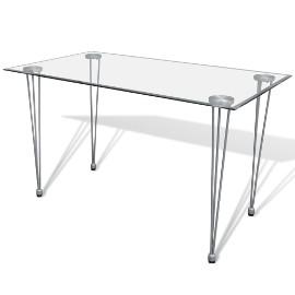 vidaXL Stół ze szklanym, przezroczystym blatem241487