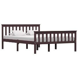 vidaXL Rama łóżka, ciemnobrązowa, lite drewno sosnowe, 140 x 200 cm 283235