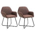 vidaXL Krzesła do jadalni, 2 szt., brązowe, tapicerowane tkaniną249810