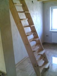 SCHODY KACZE na wysokość 240cm szer.70cm ażurowe młynarskie drewniane z BALUSTRADĄ BARIERKĄ sosna - PRODUCENT z ŁUKOWA
