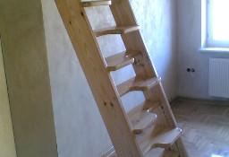 SCHODY KACZE na wysokość 240cm szer.70cm ażurowe młynarskie drewniane z BARIERKĄ