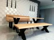 Meble industrialne ,stół dębowy,ławka,do jadalni ,lokalu,restauracji