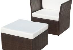 vidaXL Krzesło ogrodowe z podnóżkiem, polirattan, brąz 41980