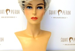 Peruka krótka z włosów syntetycznych w siwym kolorze Radomsko