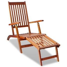 vidaXL Leżak tarasowy z podnóżkiem, lite drewno akacjowe 41433