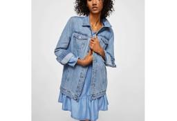 Nowa sukienka Mango L 40 mini jeans dżins denim lyocell niebieska falbana
