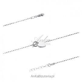 Bransoletka srebrna z serduszkiem . Biżuteria włoska