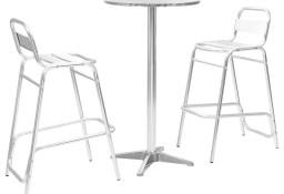 vidaXL Meble barowe z okrągłym stolikiem, 3 szt., srebrne, aluminium 44806