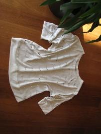 Luźny, biały sweterek, bluzka z cekinkami,  L / XL