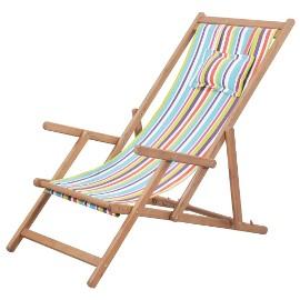 vidaXL Składany leżak plażowy, tkanina i drewniana rama, wielokolorowy 43998
